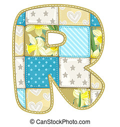 Roundish Font from quilted from multi-colored a blanket rag...