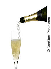 Champagne celebration - filling a glass cup with champagne...