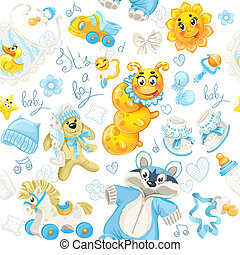 Seamless pattern of clothing, toy and stuff its a boy