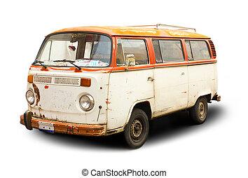 old van - old hippie rust van isolated