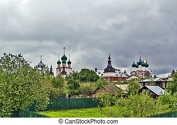 Rostov Kremlin - view of walls, towers and churches of the...
