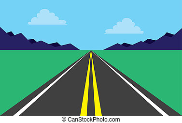Road Highway Mountains - Highway perspective road in...