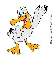 Pelican - hand drawn cartoon of a happy pelican