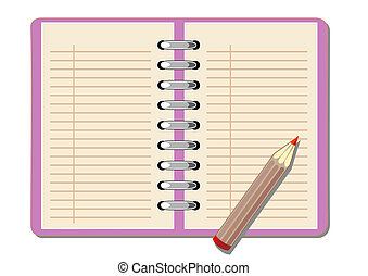 Lined Paper - vector drawing notebook with a pencil to write