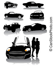 muscle car - vector drawing silhouettes of classic sports...