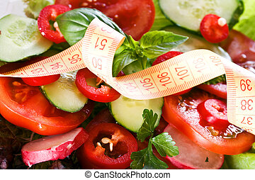 health food - Vegetables and centimeter. Centimeter on the...