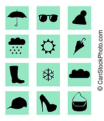 weather icon - vector weather icons in the squares on a...