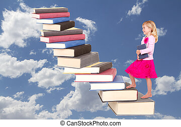 child climbing staircase of books - Child or girl climbing a...