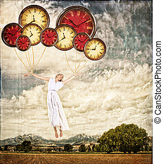 Woman tied to clocks floating away on an antique or grunge...