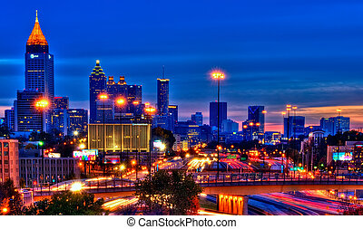 Atlanta at night - Vibrant HDR of Atlanta at night using 5...