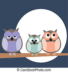 Vector owl family and moon night