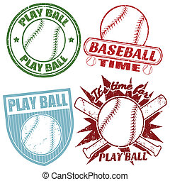 Set of baseball stamps - Set of baseball grunge rubber...