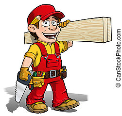 Handyman - Carpenter Red - Cartoon illustration of a...