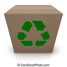 The green recycle symbol stamp on a cardboard box to illustrate environmentally and earth friendly shipping of packages in a business