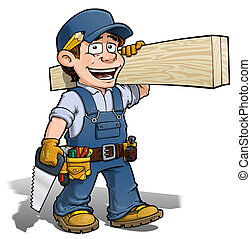 Handyman - Carpenter blue - Cartoon illustration of a...