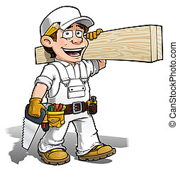 Handyman - Carpenter Color it Yourself - Cartoon...