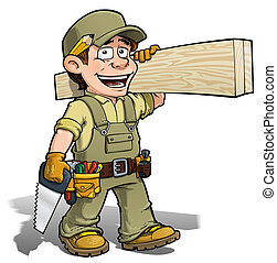 Handyman - Carpenter Khaki - Cartoon illustration of a...