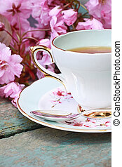 Beautiful japanese cherry tree and a cup of tea on the old...