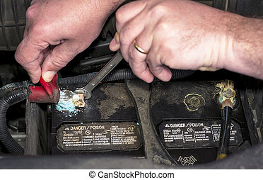 Corroded car battery terminal removal - Wrench is used to...