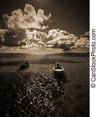 black and white boats in the Bahamas - black and white boats...