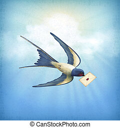 Sky Bird Letter Mail - Free flying bird (swallow) with...