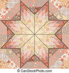 キルト, seamless, パターン, 背景, 星, デザイン