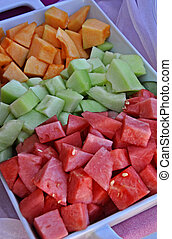 Tray of Melon Chunks - This is a tray of melon chunks...