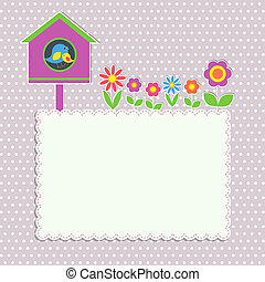 Frame with birdhouse with family of birds and flowers