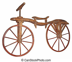 Old wooden bike from the twenties of the 19th century