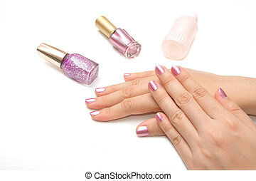 Manicure - Beautiful manicured womans nails with pink nail...