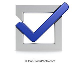 Blue check mark - Hi-res original 3d-rendered computer...