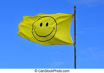 jaune, drapeau, smiley, figure