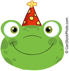 Frog Smiling Head With Birthday Hat - Cute Frog Smiling Head...