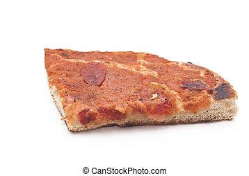 sicilian traditional pizza sfincione isolated