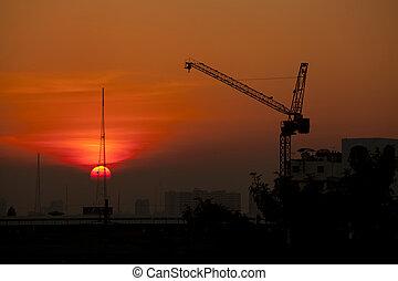 guindaste, construção, pôr do sol, local