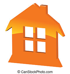 3d symbol home - 3d orange symbol home on a white...