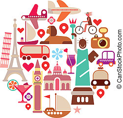 Travel Icons - round vector illustration Isolated on white...