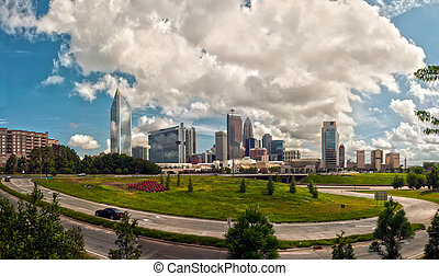Skyline of Charlotte Towers during day with clouds