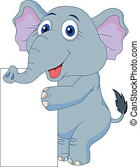 Cute elephant cartoon with blank si - Vector illustration of...