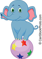 Cute elephant cartoon standing on - Vector illustration of...