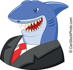 Business shark cartoon - Vector illustration of Business...
