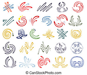 Set of esoteric design elements - Symbols of harmony, ease...