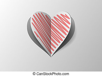 Folded Paper Heart With Red Hatch With Shadow on Gray...
