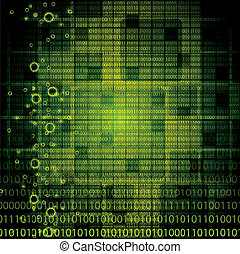 Abstract tech binary background - Abstract tech binary green...