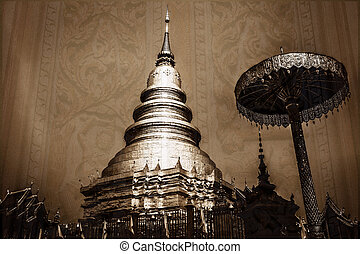vintage - Chedi which is a major place of worship, Phra That Har