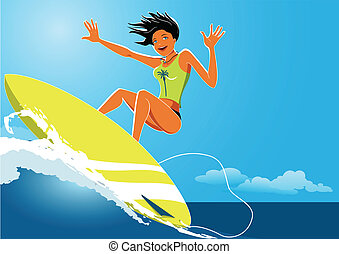 Surfer girl - Young athletic woman on a surfboard balancing...