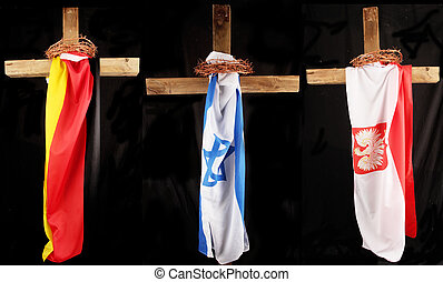 Three crosses with national flag