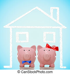 Piggy bank couple with dream home - Piggy bank husband and...