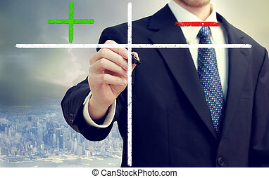 Business man writing pros and cons with big city backdrop