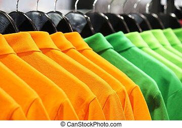 Polo Shirts - Orange And Green Polo Shirts